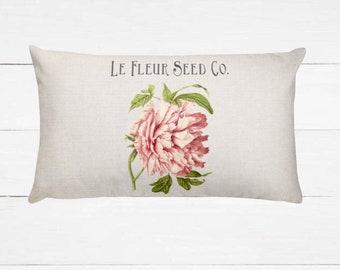 Vintage Peony   Farmhouse Pillow   Home Decor   Farmhouse Decor   Throw Pillow   Cushion   Pillow   Shabby Chic Decor   Housewarming   Gift
