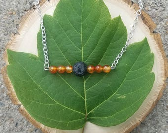 Carnelian Bar Necklace with a Lava Bead for use with Essential Oil