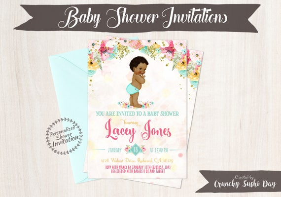 African American Vintage Baby Boy, Baby Shower Invitations, Printable Baby Shower Invitations, Baby Boy, Black, Teal, Pink, Floral 001