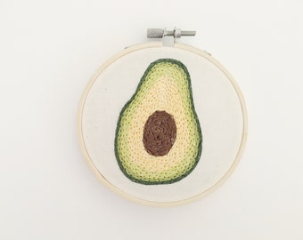Avocado Embroidery Hoop Art
