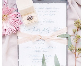 Custom Calligraphy Wedding Invitation Handlettered on Handtorn Paper with Torn Edges