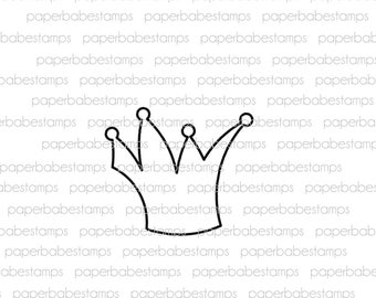 Crown - Paperbabe Stamps - Photopolymer Stamp - Whimsy Crown Image for Mixed Media and paper crafting