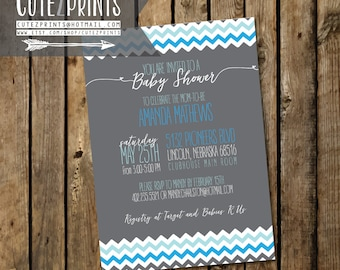 Blue Chevron Baby Shower Invitation Package