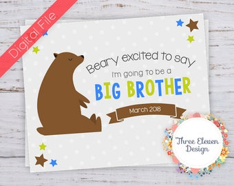 Beary Excited Big Brother Printable Pregnancy Announcement - Brother Bear Printable Pregnancy Announcement