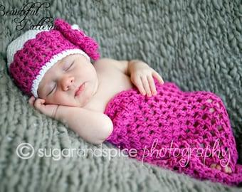 Crochet Hat PATTERN Cocoon Photo Prop Set Newborn Baby Cocoon Pod Hat Pattern PDF 410 Instant Download