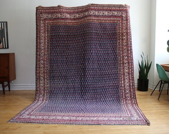Vintage Handwoven Large Blue Persian Area Rug 7'x10' - FREE SHIPPING in USA!