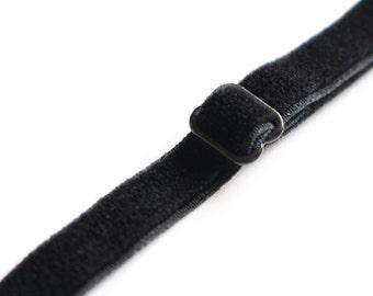 "3/8""Wide Black Velvet Stretch Elastic Bra Straps|Stretch Velvet Bra Strap|Sew In Adjustable VELVET Straps for Accessories Lingerie Bras"