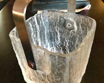 Mid-Century Frosted Glass Ice Bucket with stainless Steel and leather Vinyl handed signed Hoya.