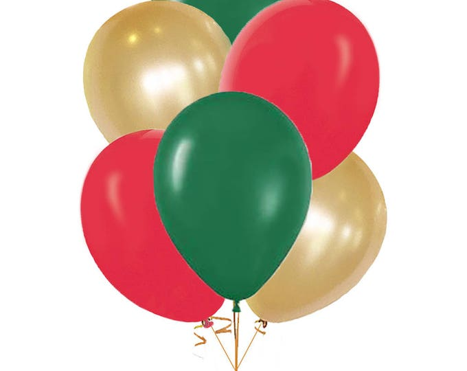 Italian Balloons, 10 Pack Green, Red, White, and Gold Balloons, Pick Your Colors, Evergreen Ruby Red and Pearl White Shimmery Gold Balloons