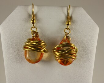 Amber glass teardrop gold wire wrapped earrings -E 226