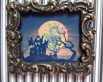 Dollhouse Picture Halloween Haunted House Moon Framed Miniature Picture Haunted Dollhouse