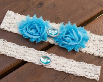 Aqua Garter Set, Something Blue Garter, Wedding Garter Belt Set, Bridal Garter Belt Set, Stretch Lace Garter,sale