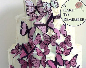 Wedding cake topper 30 pink ombre edible butterflies. Butterfly cakes decoration, Girl's birthday cake ideas or baby shower cake decor.