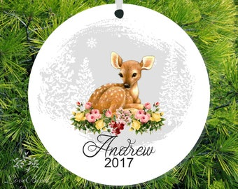 Deer Ornament Baby Boy Gift Fawn Ornament Baby  Baby's 1st Ornament New Baby Gift 1st Christmas Ornament Baby Ornament Baby Shower Gift