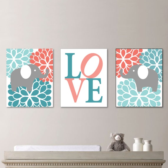 Nursery Art For Children Kids Wall Art Baby Girl Nursery Baby: Baby Girl Nursery Art Flower Elephant Nursery Decor Kids