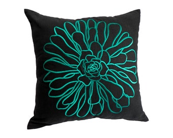 Teal Decorative Pillow Cover, Throw Pillow Cover, Teal Floral Embroidery, Black Linen  Pillow, Cushion Cover, Home Decor