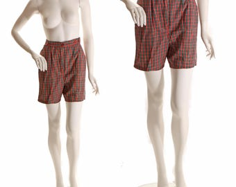 1950s Red and Green Plaid High Waisted Shorts - S-M