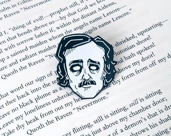 Edgar Allan Poe Enamel Lapel Pin By VOIDEaD