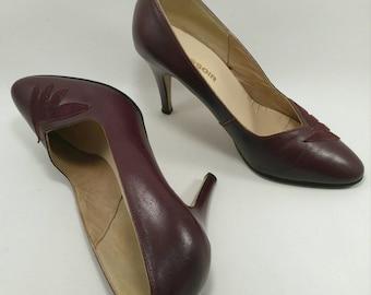 Vintage burgundy heel pump shoes 80's