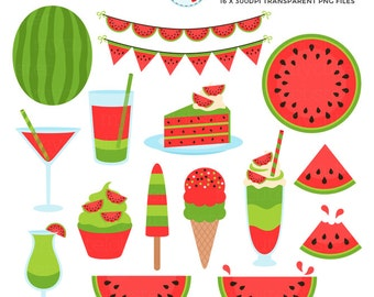 Watermelon Fun Clipart Set - bunting, drinks, cake, watermelon, fruit, milkshake - personal use, small commercial use, instant download