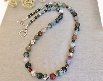 Beaded Jasper Necklace Colorful Gemstone Necklace Beaded Boho Gemstone Necklace Fancy Jasper Statement Necklace Earthtone Boho Necklace Gift