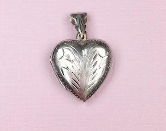 Engraved Heart Locket | Puffy Heart | Sterling Silver | Vintage