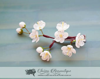 Hair clip White Cherry Blossom - Polymer Clay Flowers - Wedding Accessories - Mothers Day Gift for Women Hairvlip White Gift For Her