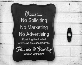 """Handpainted Wooden """"No Soliciting, No Marketing, No Advertising"""" Front Door Sign - Window - No Flyers - Do Not Disturb - No Knocking"""