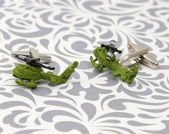 ON SALE Army Helicopter Camouflage Cufflinks