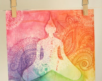 Buddha, mandala, water colour painting, artwork, meditation, rainbow,,henna art,