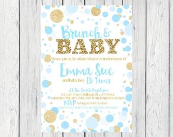 Brunch & Baby- Baby Shower Invitation- Blue and  gold glitter***Digital File***  (Baby-BrunchPolkablue)