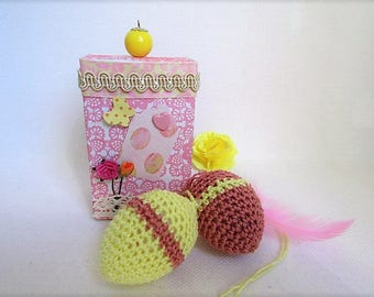 2 crochet Easter eggs in their box of matches