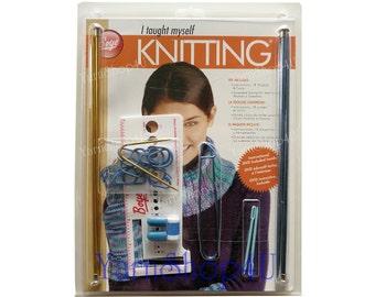 VENTE! Apprendre à tricoter Kit w / DVD, Boye j'appris moi-même à tricoter, tricot aiguilles à tricoter, accessoires, livre d'Instruction et DVD sur la façon de tricoter