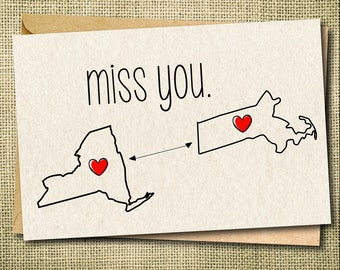 Miss You Card, State to State Card, State to State Greeting Card, Best Friend Card, Long Distance Card,  Best Friend Gift, Friendship Card