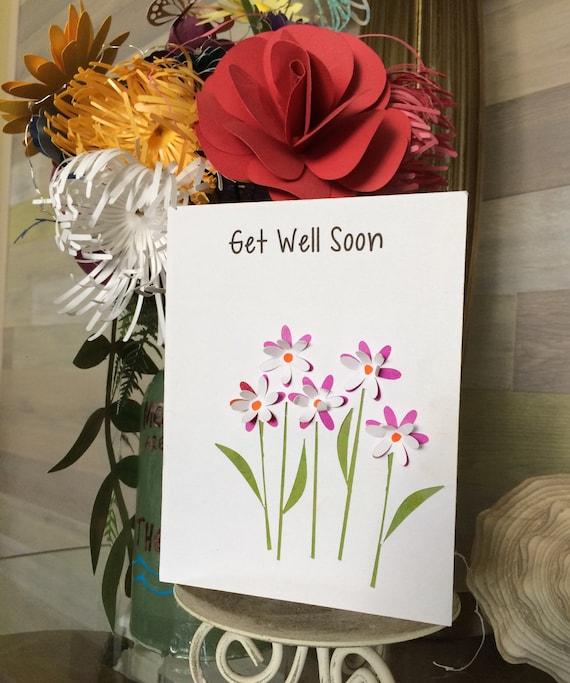 3D Flower Bouquet Get Well Soon Dimensional Card