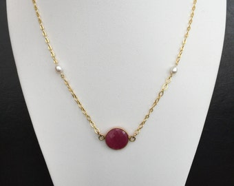 Genuine Rough-Cut Ruby and Pearl Necklace