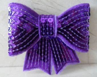 set of 2 8 x 8 cm purple sequin bows