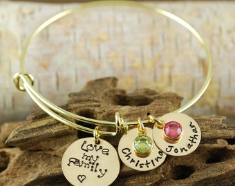 Personalized Bangle Bracelet, Love my Family, Gold Bangle Charm Bracelet, Name Bracelet, Gift for Grandma, Gift for Mom, Hand Stamped Bangle