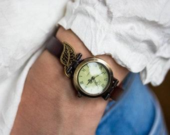 Woman Watch bronze wrist watch roman numerals, genuine leather, vintage watch, bracelet watch real leather, vintage antique bronze watch