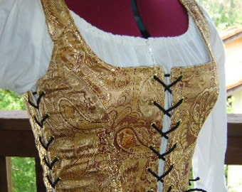 Ready to ship - Handmade Bodice Waist Cincher -  Gold and Burgundy Brocade - Bust 35-38 Waist 28-31 (10)