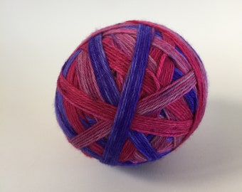 Hand dyed self striping sock yarn 100g