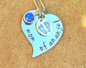 Mom Of An Angel Necklace, Sympathy Gifts,Memorial Necklace, Sympathy Gift, Memorial Baby, Mother's Loss, Personalized Necklace, natashaaloha