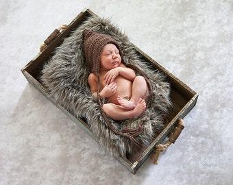 Newborn Baby Hat Baby Elf Hat Newborn Baby Boy Hat Newborn Baby Girl Hat Taupe Pixie Elf Baby Hat Baby Bonnet Newborn Photography Prop Brown