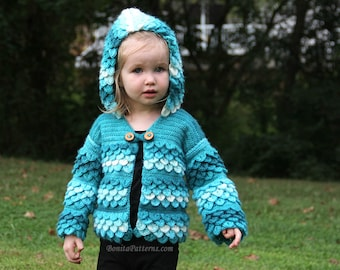 CROCHET PATTERN: Crocodile Stitch Hooded Cardigan (baby & toddler) - Permission to Sell Finished Product
