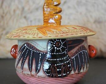Bird Ceramic Jar, Crow, Raven, cookie jar, treat jar, handbuilt pottery