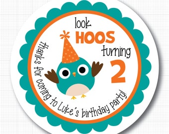 Birthday Owl Personalized Birthday Stickers or Tags