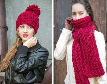 Red Scarf and Hat Set // Chunky Knit Scarf Pom Pom Hat // Holiday Gifts for Her // Knit Wool Scarf Set shown in Cranberry