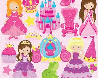 80% OFF SALE Fairytale princess clipart for scrapbooking, commercial use, vector graphics, digital clip art, images, slumber party - CL748