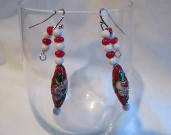Red Candy Cane Earrings on Silver Ear Wires, Candy Cane, Earrings, Red