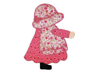 "Instant download! Aproned Sunbonnet Sue embroidered applique with buttonhole stitching . 4"" x 4"" and 5"" x 7"""